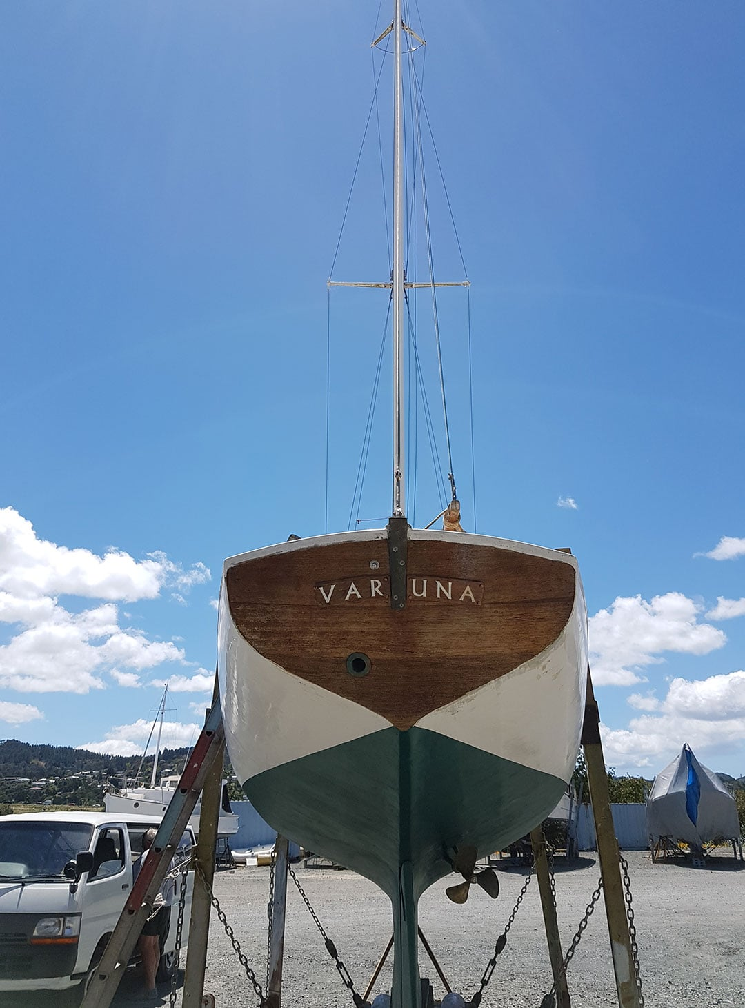 The transom of Y2 VARUNA in dry dock at Whangarei, NZ